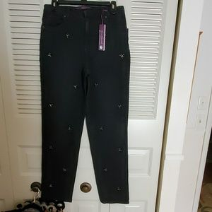 NWT BLACK JEANS WITH BLING SZ 6R